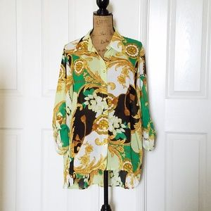 🆕️Sunny Leigh lux patterned blouse ~ XL